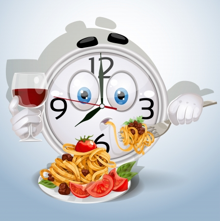 Watch smile dinner of spaghetti with a glass of red wine Vector