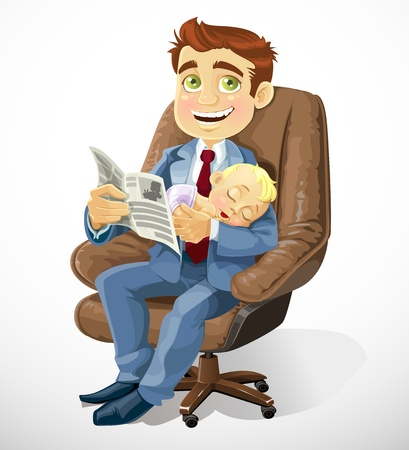 handsome young man: Business dad with sleep baby in an office chair and read business records