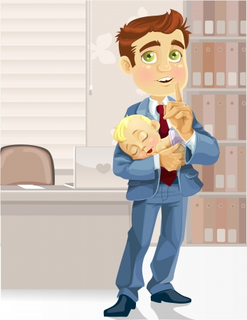 Cute business dad in the office with the sleeping child asked to be quiet