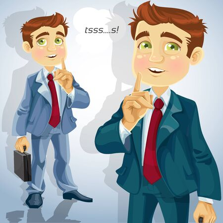 Cute businessman asked to be quiet Stock Vector - 15660620
