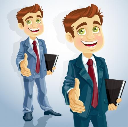 d?a: lindo hombre de negocios da la mano para saludar