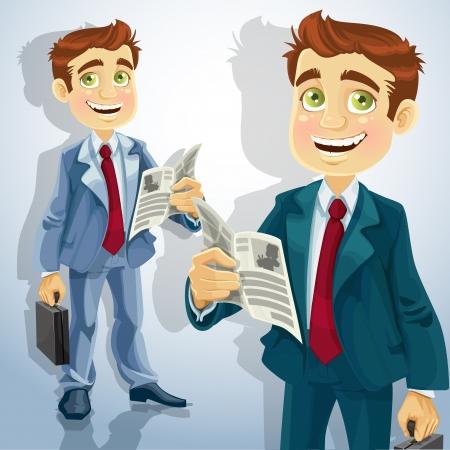 summary: Cute businessman read a summary of the news