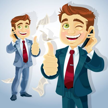Cute businessman reported good news on the phone and shows all is OK. Stock Vector - 15660633