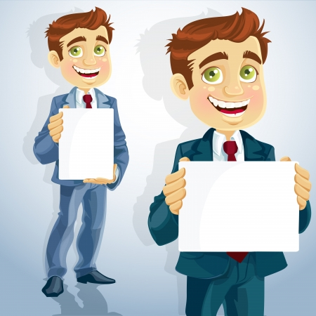 cute businessman show the form for presentation Stock Vector - 15660609