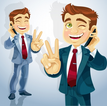 cute businessman talking on the phone and makes the sign of peace Vector