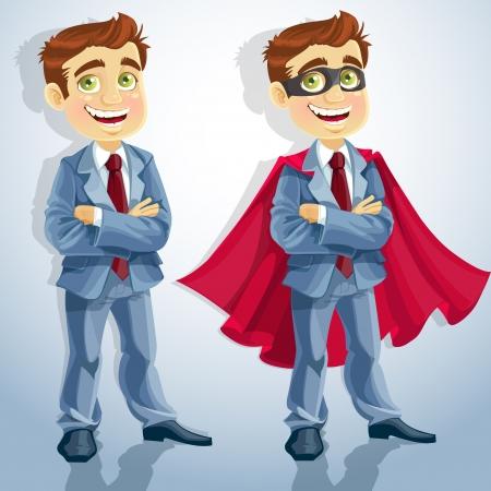 caucasians: Uomo d'affari sveglio con le braccia conserte, e vestito da supereroe Vettoriali