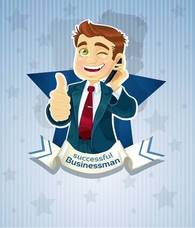 Cute successful businessman- star poster Stock Vector - 15660596
