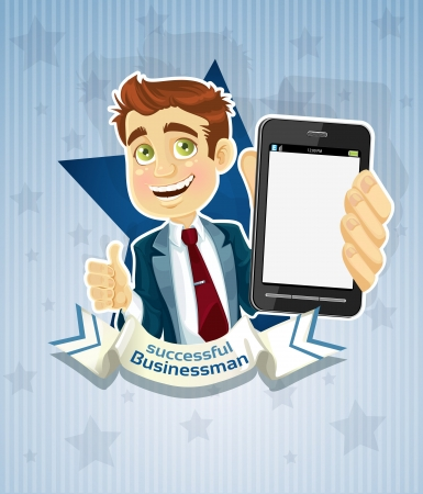 Cute successful businessman with phone- star poster. Vector
