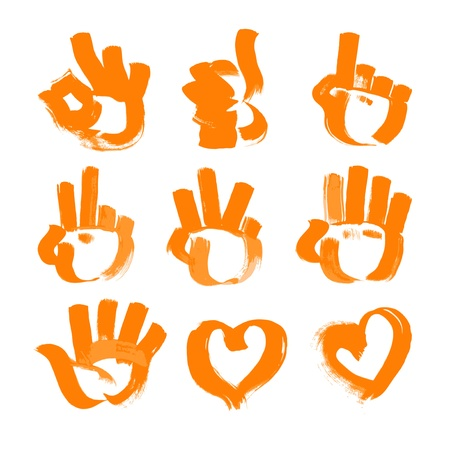orange brush strokes - numerals- hands, heart and ok symbols painted textured brush. Vector