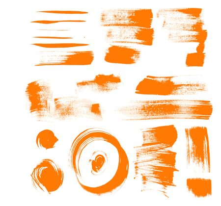 orange brush strokes - textured strokes of different shape Vector