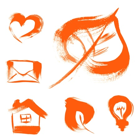 set of characters drawn with a brush texture - a house, a letter, heart, light, leaf Stock Vector - 15660673