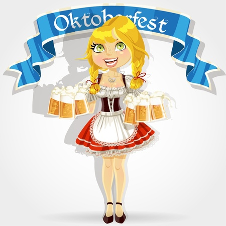 Pretty girl in traditional costume with a glass of beer celebrating Oktoberfest Vector