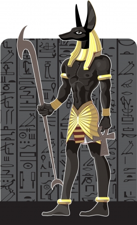 Mighty Great dark Anubis on dark Egypt background Vector