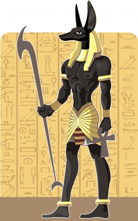 papyrus: Mighty Great dark Anubis on Egypt background