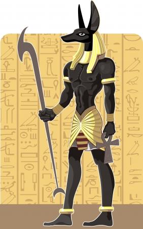 horus: Poderoso Gran oscuro Anubis en Egipto fondo