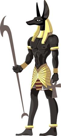 horus: Poderoso Anubis Gran aisladas sobre fondo blanco Vectores