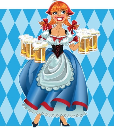 waitresses: Octoberfest girl with beer
