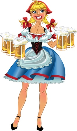 bavarian girl: Octoberfest blond girl with beer Illustration