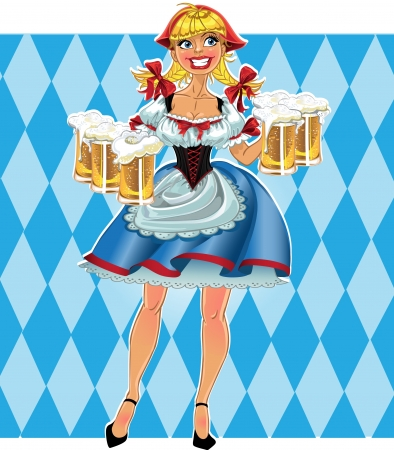 Octoberfest blond girl with beer in short skirt on blue background Vector