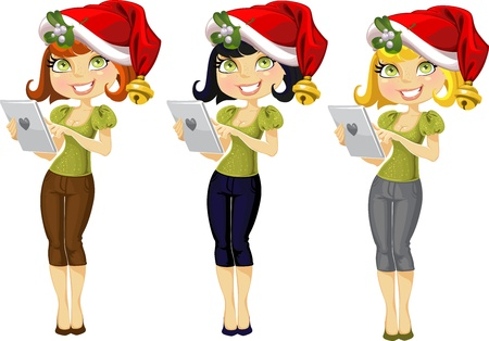 Girl with a pocket computer in a Christmas hat and mistletoe Stock Vector - 15660781