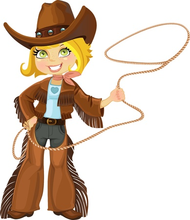 sh�rif: Cowgirl blonde avec Lasso Illustration