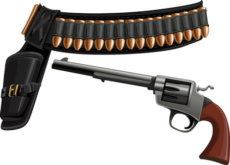 leather belt: revolver, a belt holster and ammunition