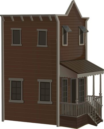dusty: wooden two-story house for the town in the Wild West Illustration