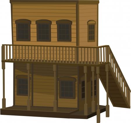 taberna: madera de dos pisos de color marr�n claro casa para el pueblo en el lejano oeste. Vectores