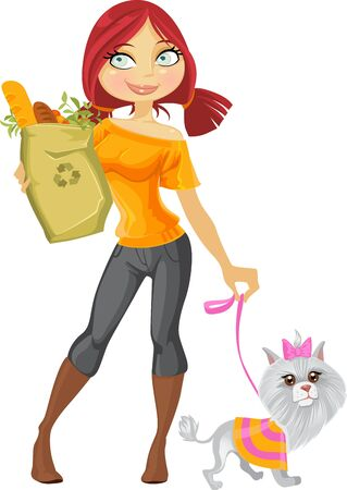 dog walk: Pretty redhaired girl with small dog and health food