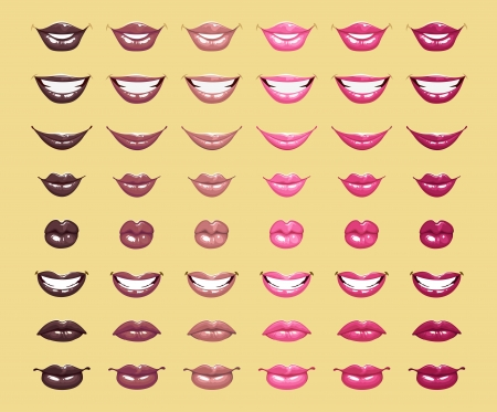 glamorous glossy shining female lips in pink colors Illustration