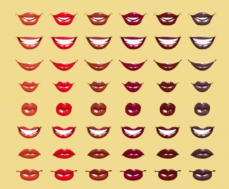 glamour lucida labbra femminili in brillanti colori rosso