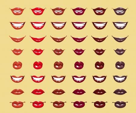 glamoureuze glossy glanzende vrouwelijke lippen in rode kleuren