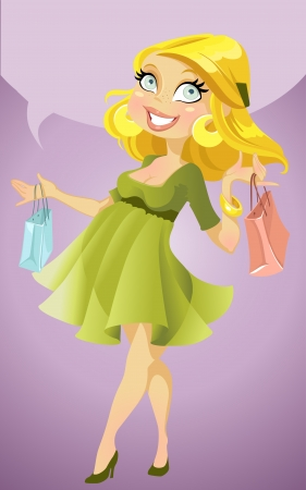 Pretty pregnant woman with shopping bags and text area Stock Vector - 15660769