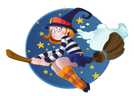 Young witch on the broom on the sky Vector