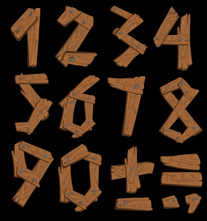 minus sign: The figures made of wood held together with nails on black background