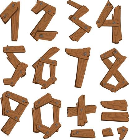 De cijfers van hout bij elkaar gehouden met spijkers