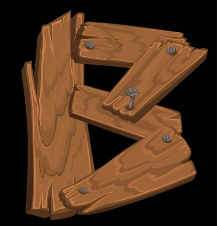 wooden alphabet - letter B on black background Vector