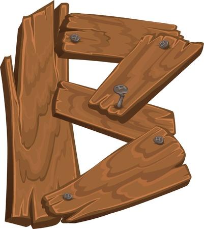 wooden alphabet - letter B  Illustration