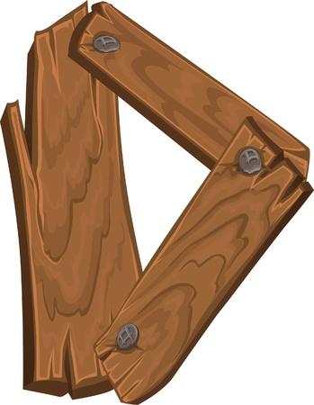lumber: wooden alphabet - letter D Illustration