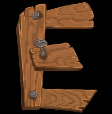 wooden alphabet - letter E on black background Vector