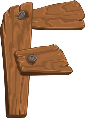 de madera alfabeto - letra F Ilustración de vector