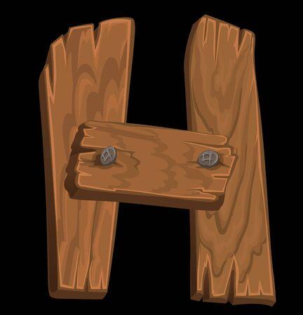 wooden alphabet - letter H on black background Stock Vector - 15660735