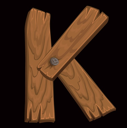 wooden alphabet - letter K on black background. Vector