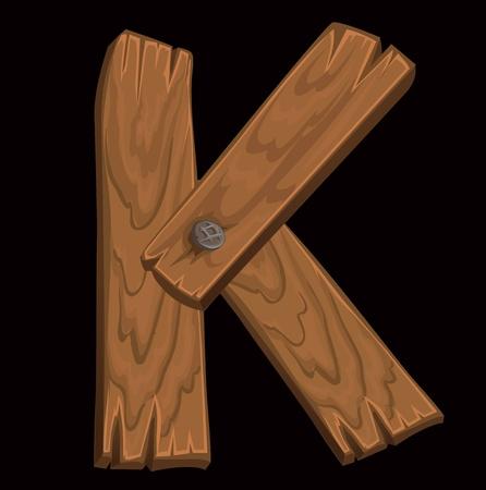 typeface: wooden alphabet - letter K on black background.