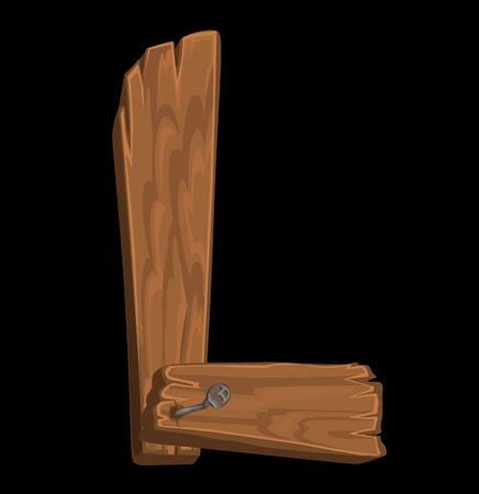 wooden alphabet - letter L on black background Vector