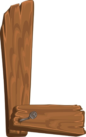 houten alfabet - letter L Vector Illustratie