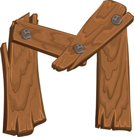m: wooden alphabet - letter M