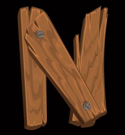 wooden alphabet - letter N on black background Stock Vector - 15660706