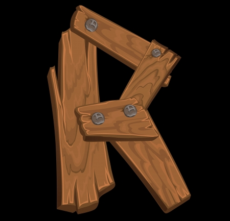 wooden alphabet - letter R on black background Vector