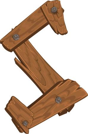 letra s: alfabeto de madera - letra S